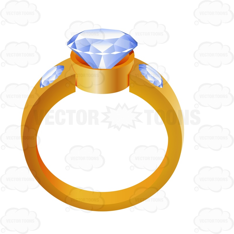 800x800 Gold Wedding Ring With A Diamond Center Cartoon Clipart Vector Toons