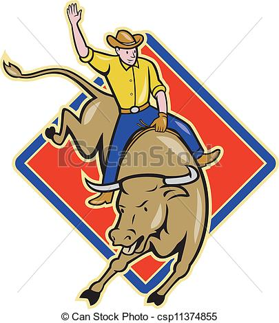 405x470 Rodeo Cowboy Bull Riding Cartoon. Illustration Of Rodeo Cowboy