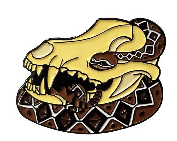570x456 Eastern Diamondback Rattlesnake Curled Around Coyote Skull