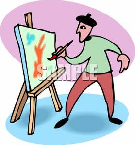 278x300 An Artist Painting On Canvas Clip Art Image