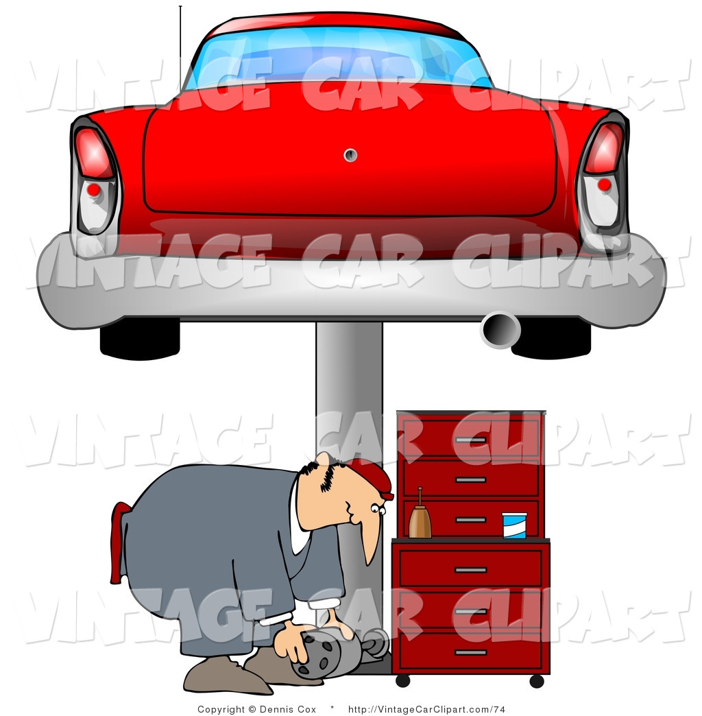 1024x1044 Clipart Of A Male Mechanic Bending Over To Lift A Part Needed