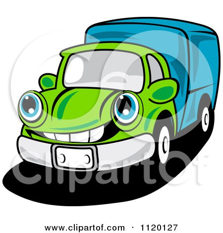450x470 Cartoon Of A Happy Green Delivery Truck Or Big Rig