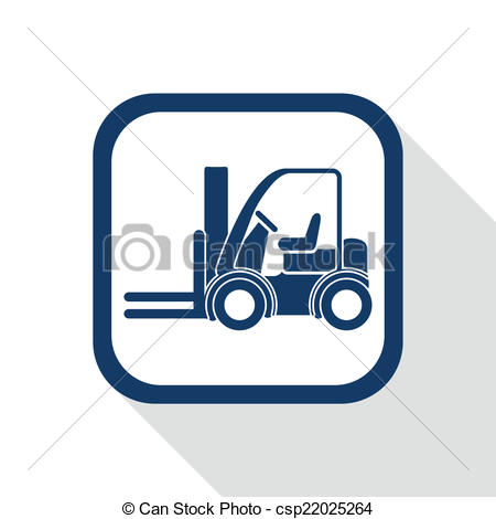 450x470 Square Blue Icon Forklift Truck With Long Shadow