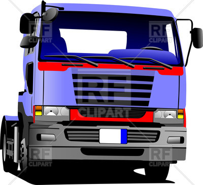 400x363 Blue European Truck Without Trailer Royalty Free Vector Clip Art