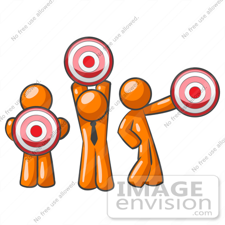 450x450 Clip Art Graphic Of An Orange Guy Characters Holding Target