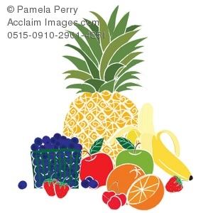 300x300 Clip Art Illustration Of Different Kinds Of Fruit