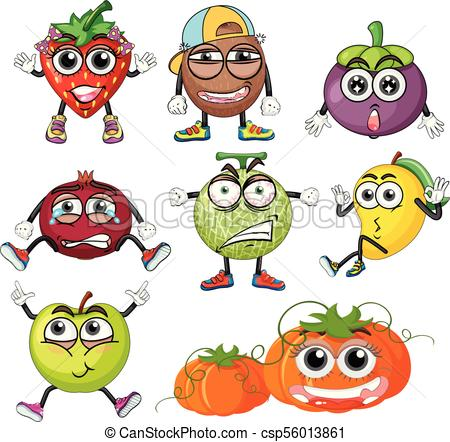 450x442 Different Fruits With Facial Expressions Illustration Clip Art