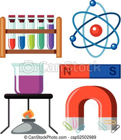 406x470 Different Science Equipments On White Background Vector