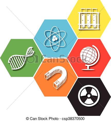 431x470 Different Symbol Of Sciene On Hexagon Illustration Vector Clipart