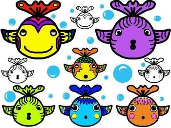 350x263 Free Clip Art For Your Ocean Creations! 6 Fanciful Fish Plus 3