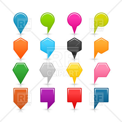 400x400 Multicolored Map Pins Of Different Shapes Royalty Free Vector Clip