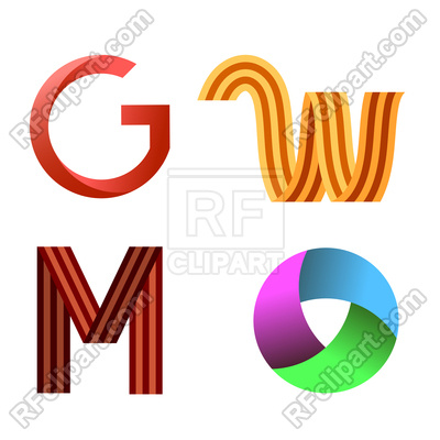 400x400 Set Of Different Colored Letters Royalty Free Vector Clip Art