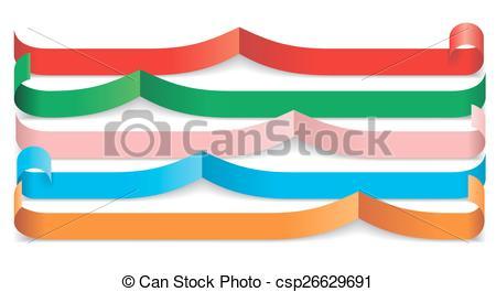 450x265 Set Of Different Paper Ribbons. Vector Illustration Eps Vectors