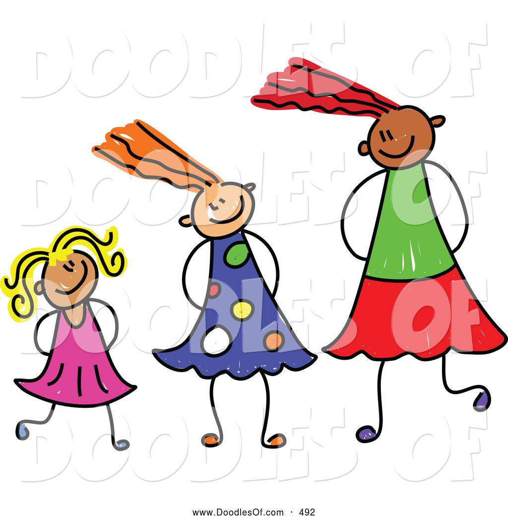 1024x1044 Vector Clipart A Stick Figure Drawing A Line Girls