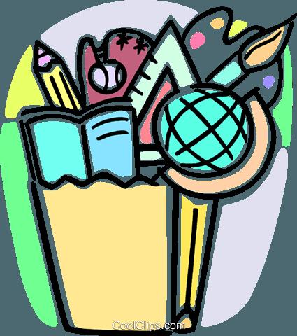 425x480 Different School Activities Royalty Free Vector Clip Art