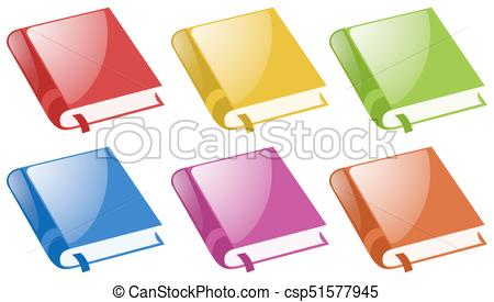 450x275 Books In Six Different Colors Illustration Eps Vector