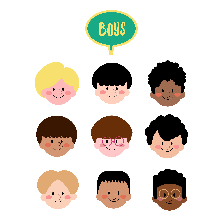 3000x3000 Boys Face Clip Art, Different Kids Face Overlay, Clipart