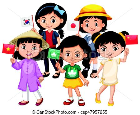 450x371 Children Holding Flag Of Different Countries Illustration Clipart
