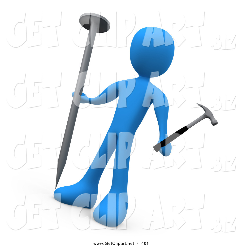 1024x1044 3d Clip Art Of A Confused Blue Man Holding A Large Nail And A Tiny