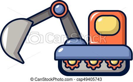 450x279 Excavator Icon, Cartoon Style. Excavator Icon. Cartoon Eps