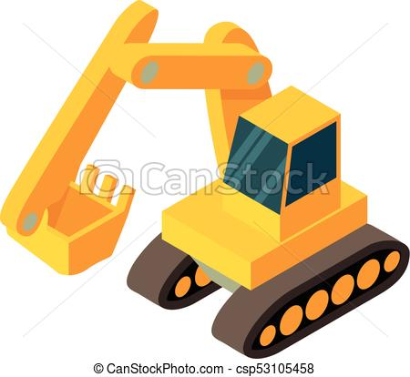 450x414 Excavator Icon, Isometric 3d Style. Excavator Icon. Isometric