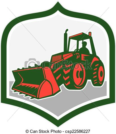 408x470 Mechanical Digger Excavator Shield Retro. Illustration