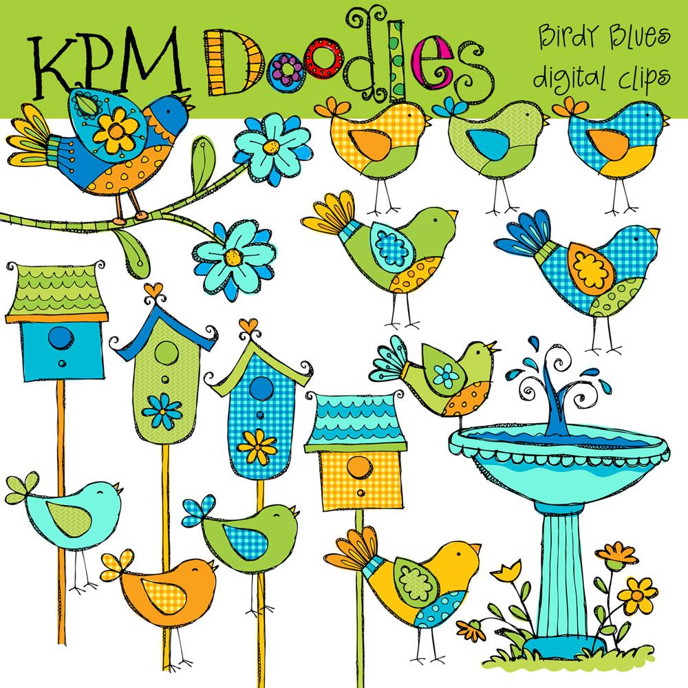 1000x1000 Blue Bird Digital Clip Art