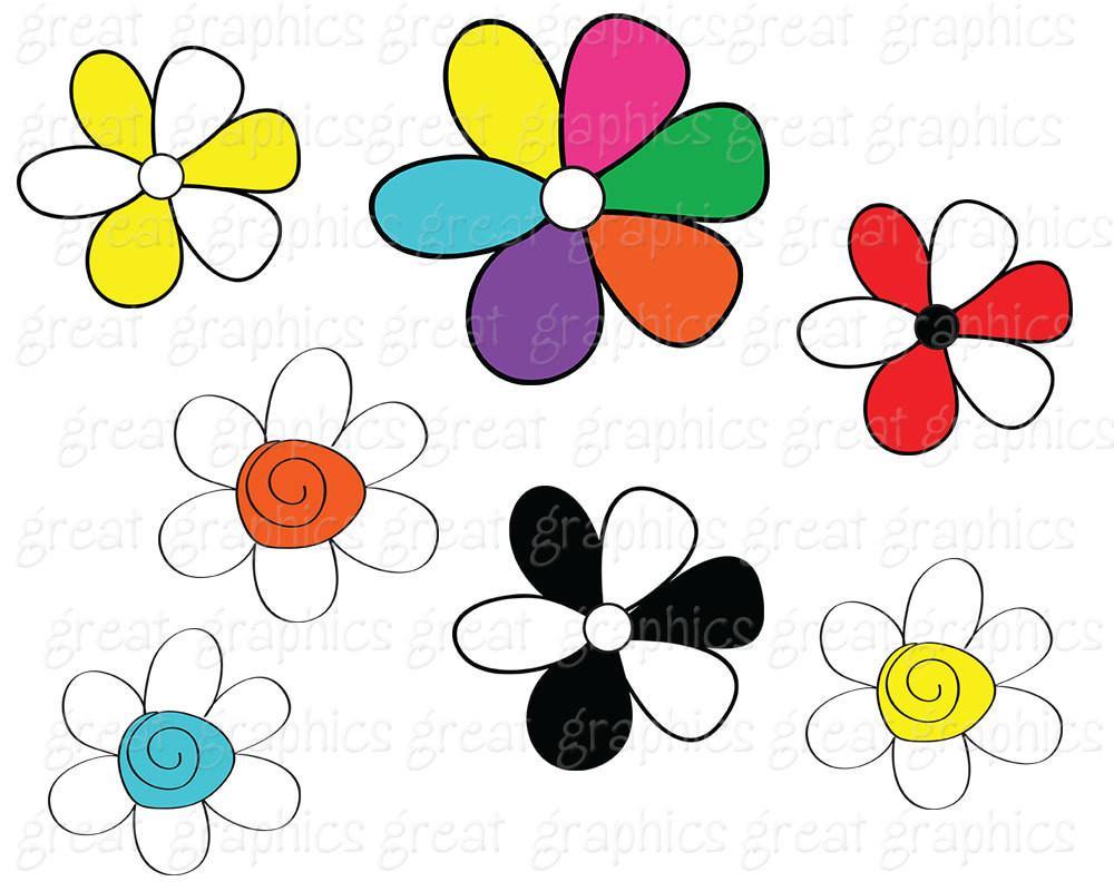 1000x800 Clip Art Flower, Digital Flower Clipart, Flower Digital Clip Art