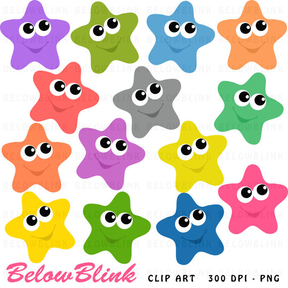 570x570 Happy Stars Clipart Clip Art Digital Scrapbooking Commercial Use