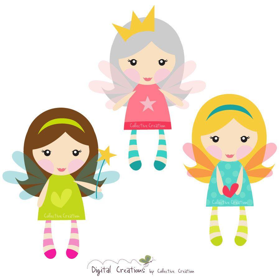 900x900 Little Fairy Girls Digital Clipart