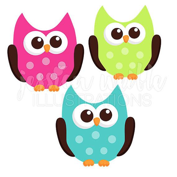 570x570 Owl Friend Cute Digital Clipart, Hot Pink And Teal Owl Clip Art