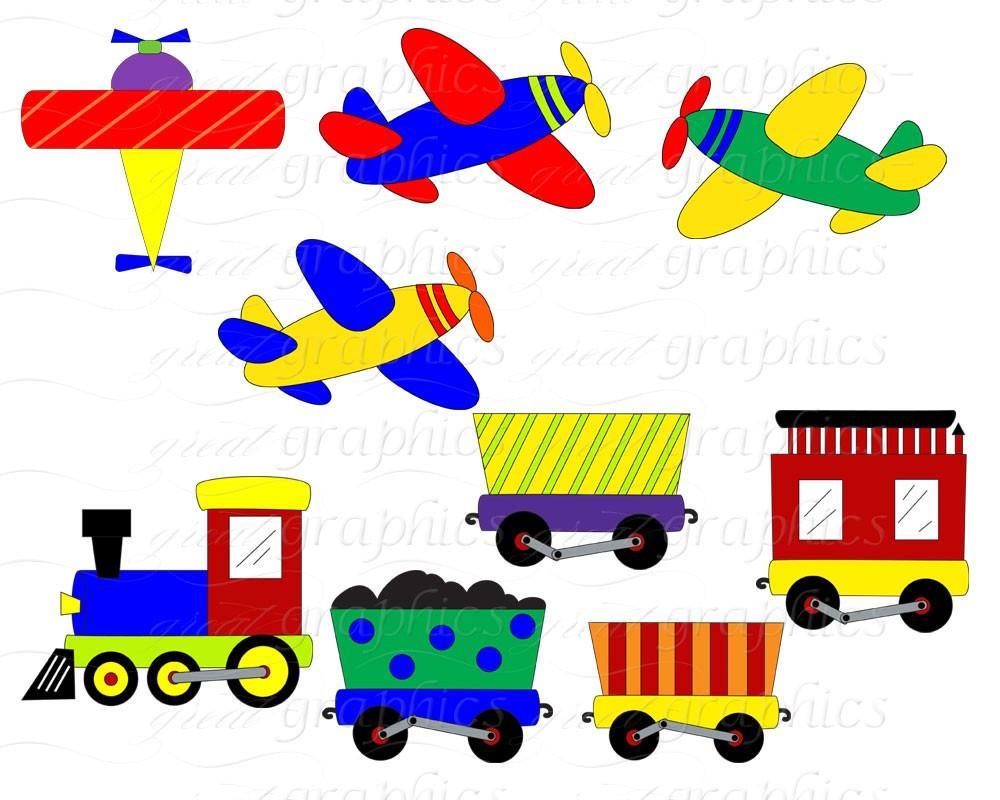 1000x800 Airplane And Train Clip Art Digital Clipart Digital Paper