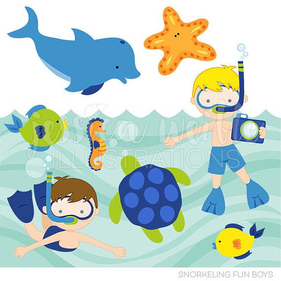 570x570 Snorkeling Fun Boys Cute Digital Clipart, Commercial Use Clip Art