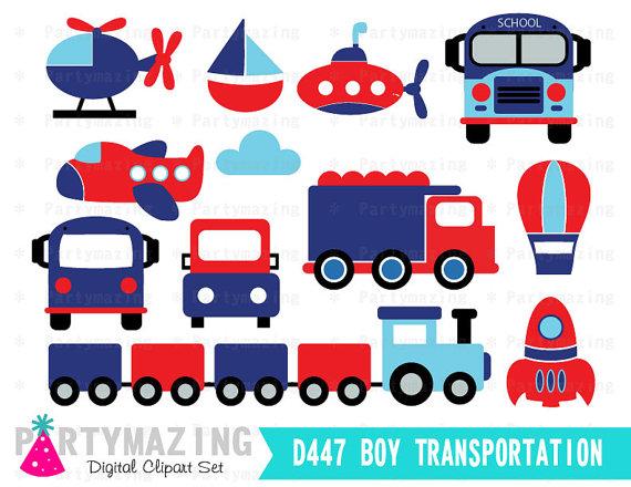 570x440 Transportation Clipart For Boys Blue Digital Clip Art Graphics