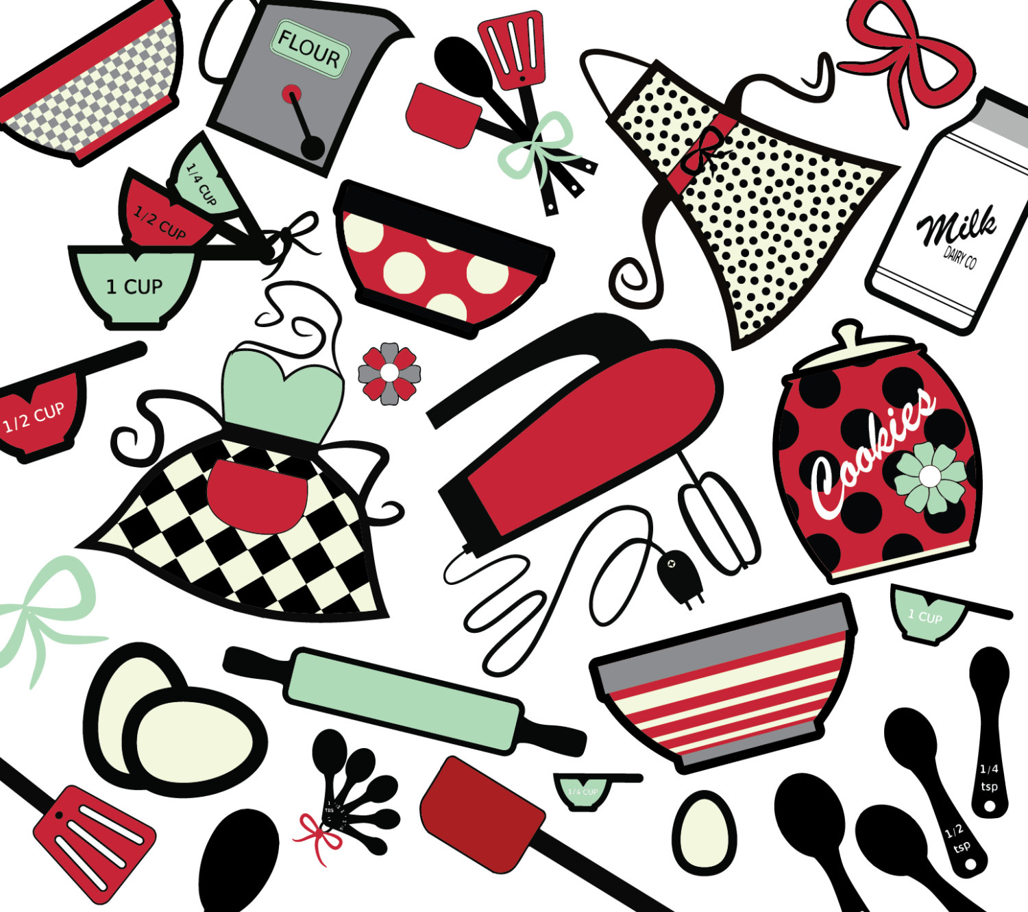 1500x1330 Baking Retro Digital Clip Art Instant Download Mint And Red