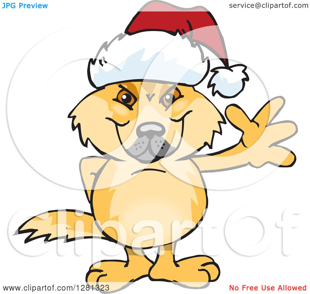 1080x1024 Clipart Of A Friendly Waving Dingo Wearing A Christmas Santa Hat