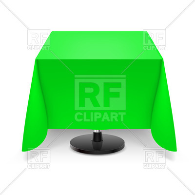 400x400 Square Dining Table With Green Tablecloth Royalty Free Vector Clip