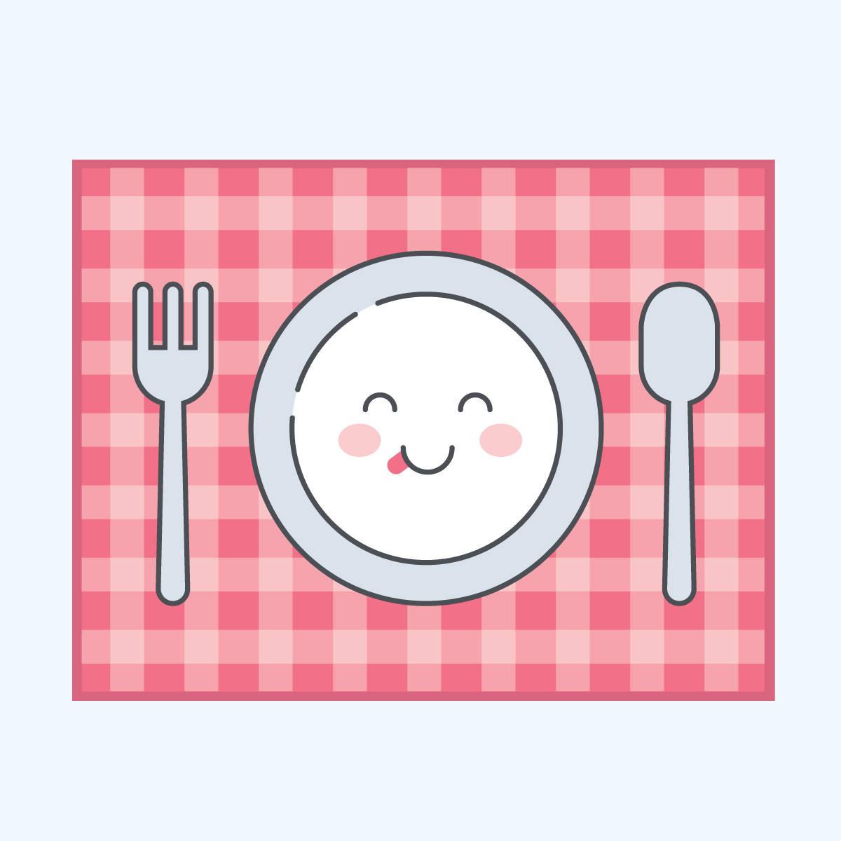 1200x1200 Cute Plate Spoon Fork Dinner Mat Clip Art Vector Throughout