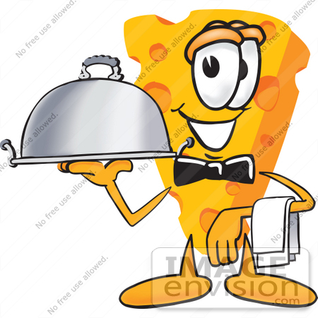 450x450 Clip Art Graphic Of A Swiss Cheese Wedge Mascot Character Serving