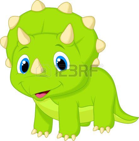 443x450 Cute Baby Triceratops Cartoon Los Dinosaurio Bebes