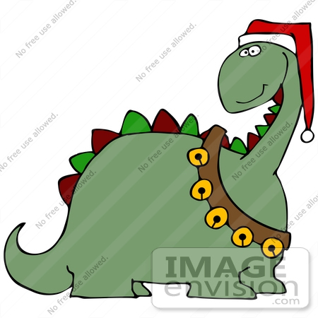 450x450 Clip Art Graphic Of A Festive Christmas Dinosaur With Jingle Bells