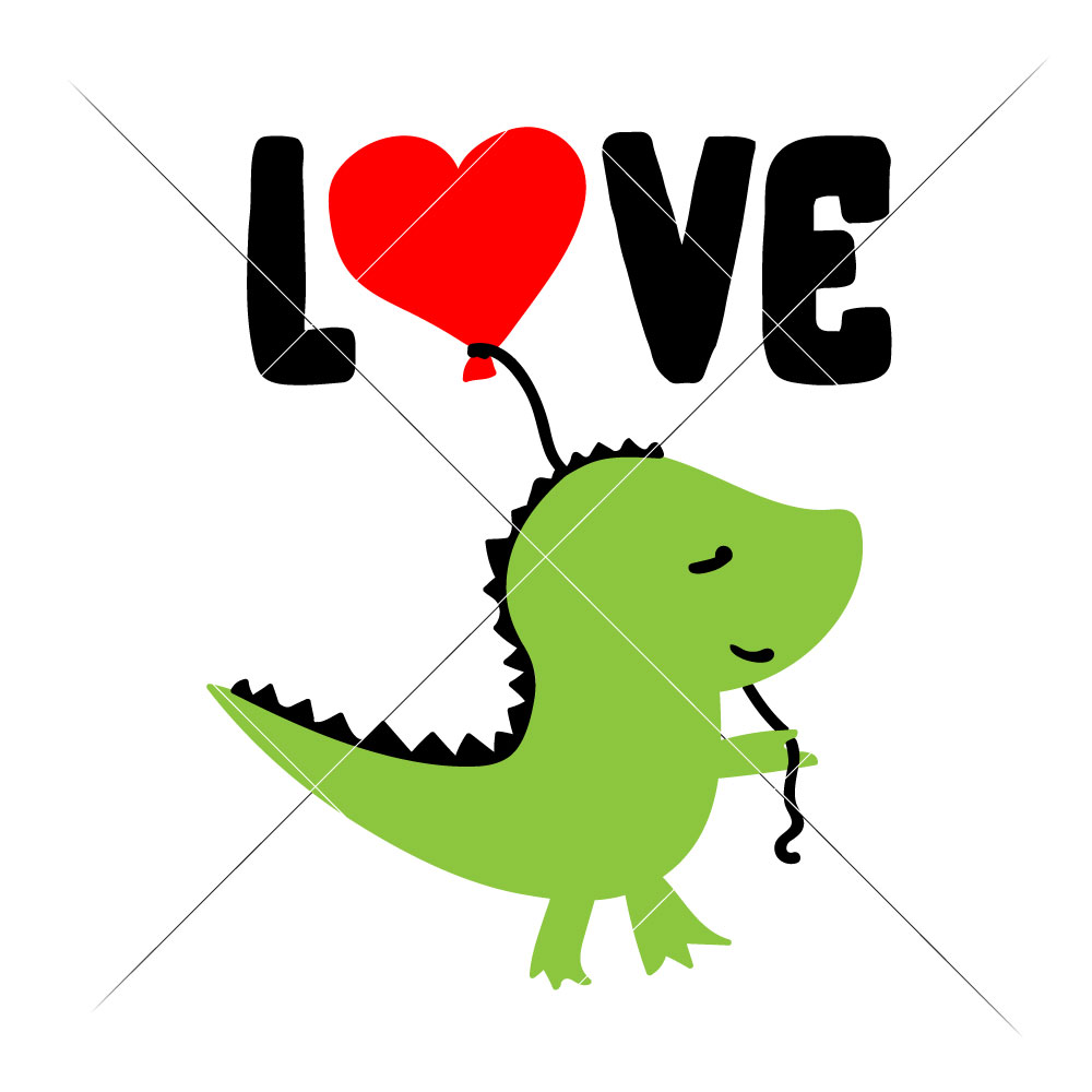 1000x1000 Love Dinosaur With Balloon