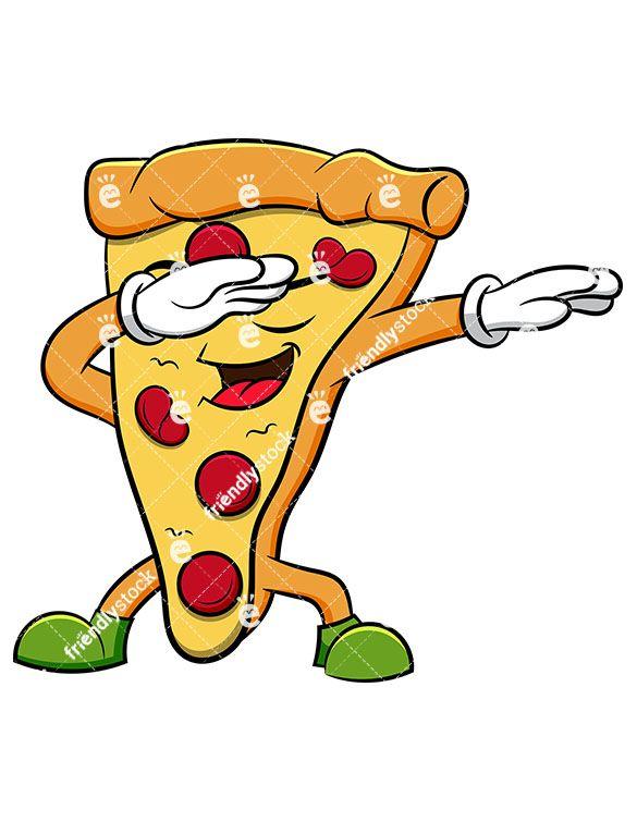 585x755 Dabbing Pizza Slice Cartoon Vector Clipart