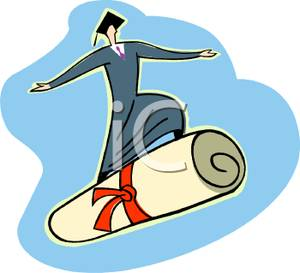 300x273 Clip Art Image A Graduate Surfing On A Diploma
