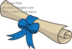 300x204 Rolled Up Scroll Tied With A Blue Ribbon Royalty Free Clip Art Image