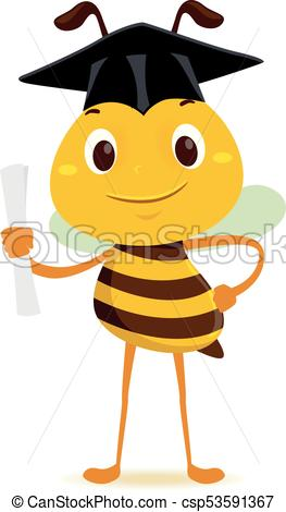 263x470 Vector Illustration Of Bee Holding A Diploma While Wearing Clip