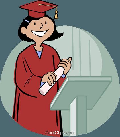 421x480 Girl Receiving Diploma Royalty Free Vector Clip Art Illustration