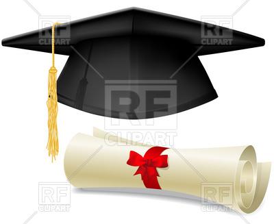 400x327 Black Graduation Cap, Mortarboard And Diploma Scroll, Made