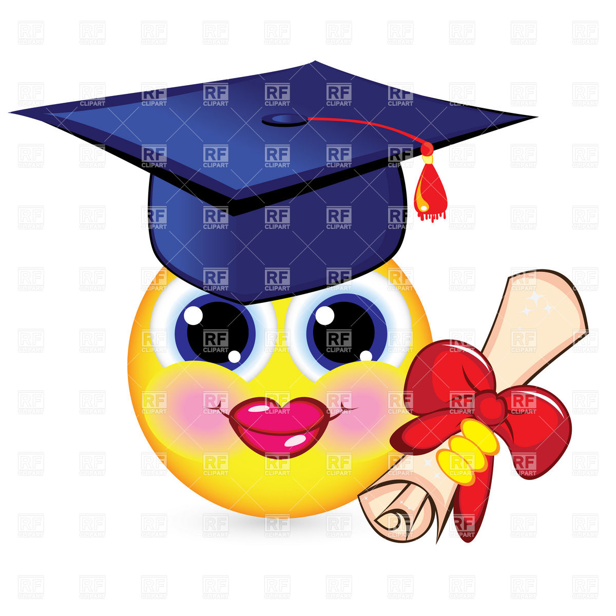 1200x1200 Cheerful Smiley Graduate With Mortarboard And Diploma Royalty Free