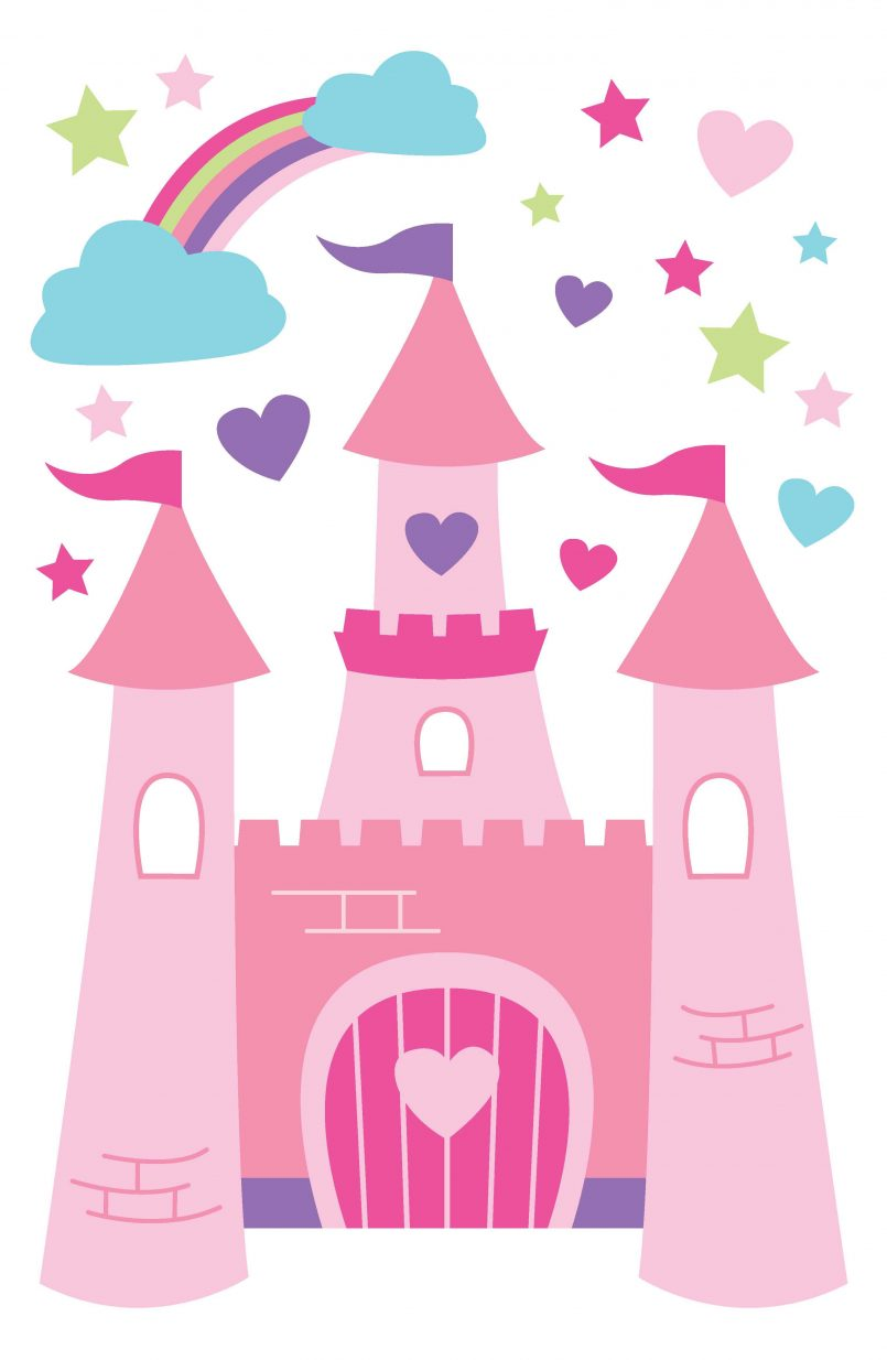 805x1234 Colors Abstract Disney Baby Princess Wall Stickers With Creative